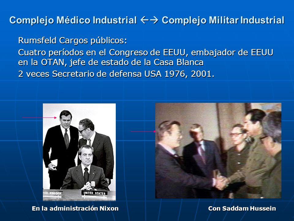 Rumsfeld Cargos públicos: Cuatro períodos en el Congreso de EEUU, embajador de EEUU en la OTAN, jefe de estado de la Casa Blanca 2 veces Secretario de
