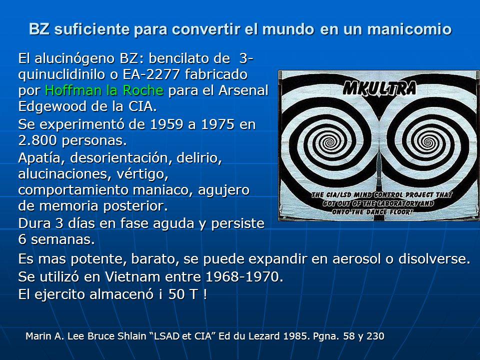 BZ suficiente para convertir el mundo en un manicomio El alucinógeno BZ: bencilato de 3- quinuclidinilo o EA-2277 fabricado por Hoffman la Roche para