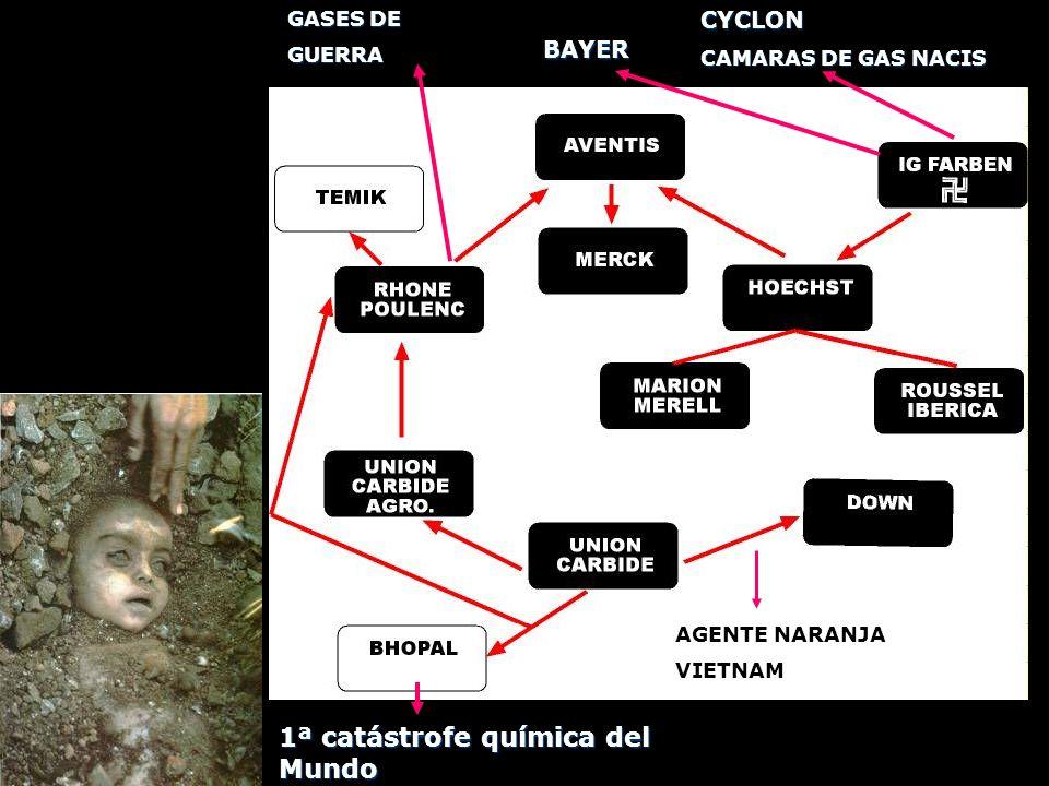 BAYER GASES DE GUERRACYCLON CAMARAS DE GAS NACIS AGENTE NARANJA VIETNAM 1ª catástrofe química del Mundo