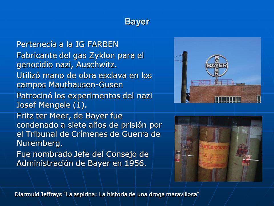 Bayer Pertenecía a la IG FARBEN Fabricante del gas Zyklon para el genocidio nazi, Auschwitz. Utilizó mano de obra esclava en los campos Mauthausen-Gus