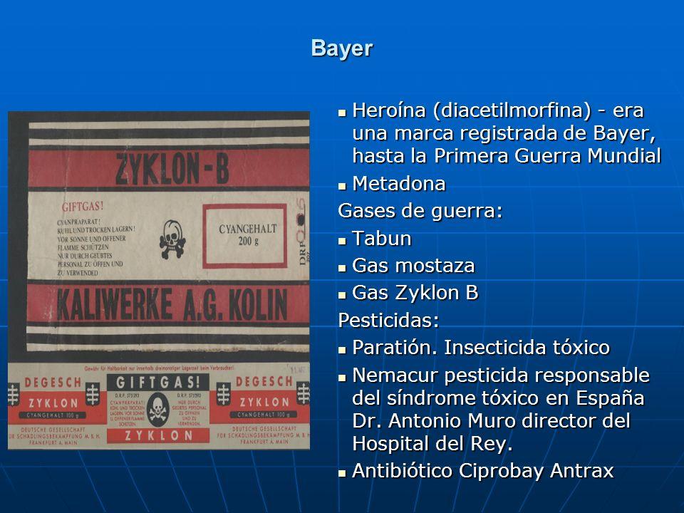 Bayer Heroína (diacetilmorfina) - era una marca registrada de Bayer, hasta la Primera Guerra Mundial Heroína (diacetilmorfina) - era una marca registr
