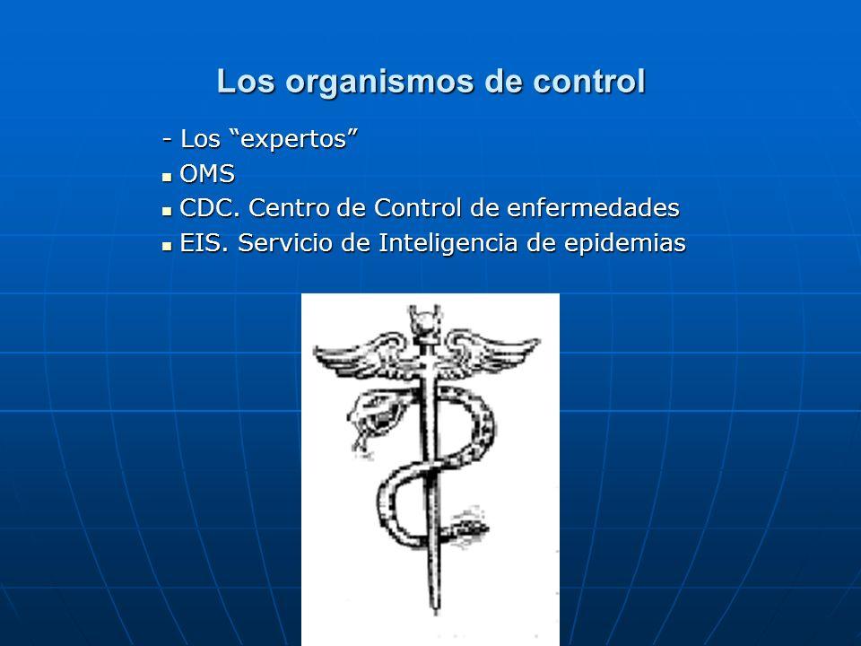 Los organismos de control - Los expertos OMS OMS CDC. Centro de Control de enfermedades CDC. Centro de Control de enfermedades EIS. Servicio de Inteli