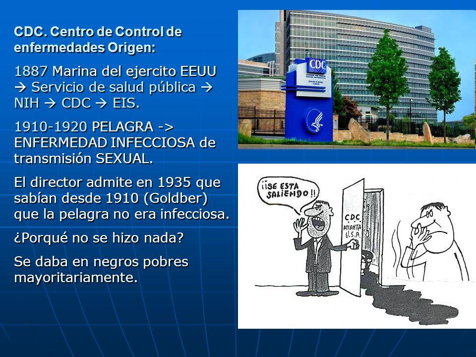 CDC. Centro de Control de enfermedades Origen: 1887 Marina del ejercito EEUU Servicio de salud pública NIH CDC EIS. 1910-1920 PELAGRA -> ENFERMEDAD IN