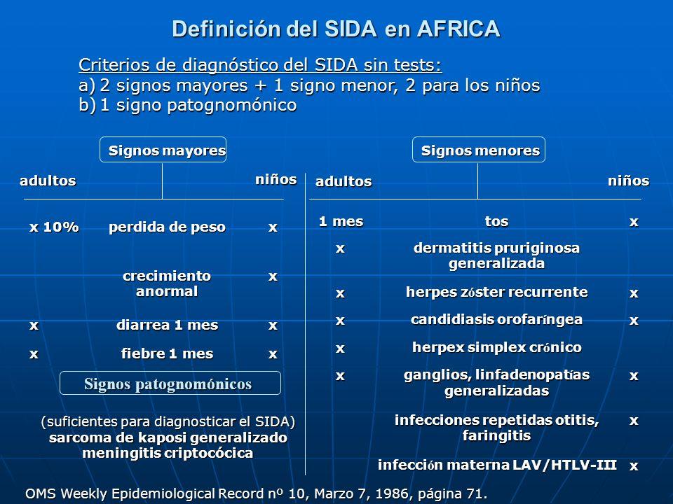 Definición del SIDA en AFRICA Signos mayores niños adultos x 10% perdida de peso x crecimiento anormal x x diarrea 1 mes x x fiebre 1 mes x Signos men