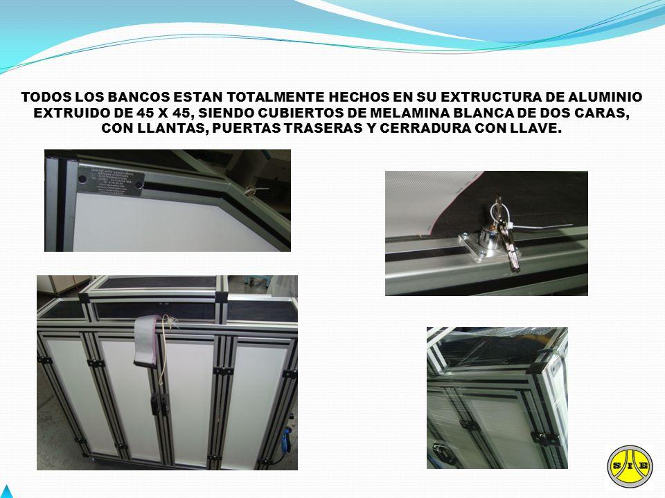 TODOS LOS BANCOS ESTAN TOTALMENTE HECHOS EN SU EXTRUCTURA DE ALUMINIO EXTRUIDO DE 45 X 45, SIENDO CUBIERTOS DE MELAMINA BLANCA DE DOS CARAS, CON LLANT