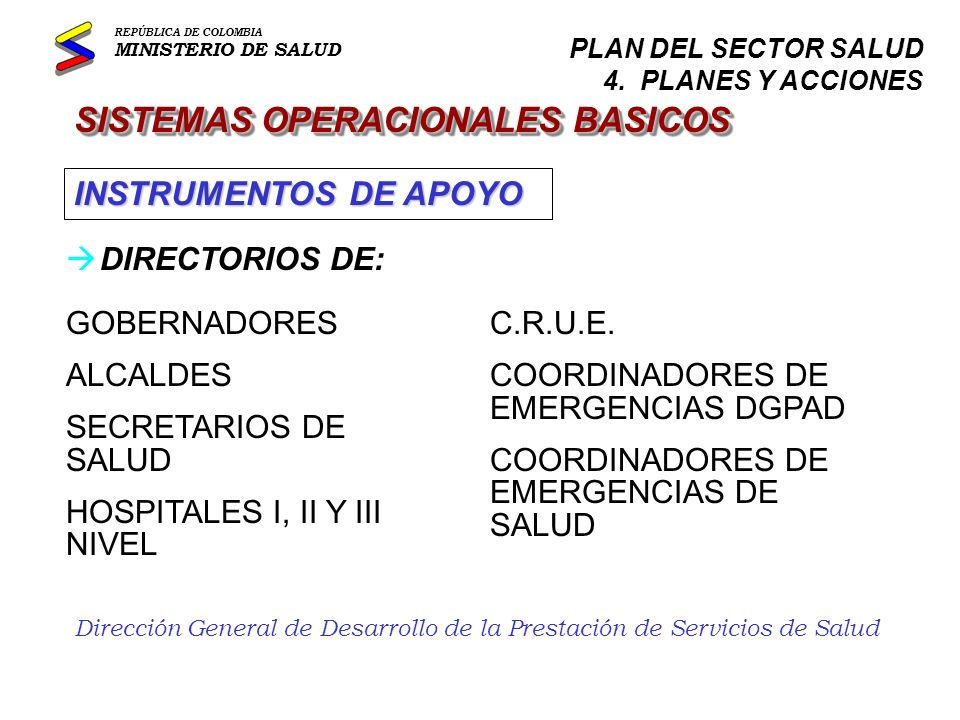Dirección General de Desarrollo de la Prestación de Servicios de Salud CRONOGRAMA 2002 REPÚBLICA DE COLOMBIA MINISTERIO DE SALUD PLAN DEL SECTOR SALUD AGENDA 2002