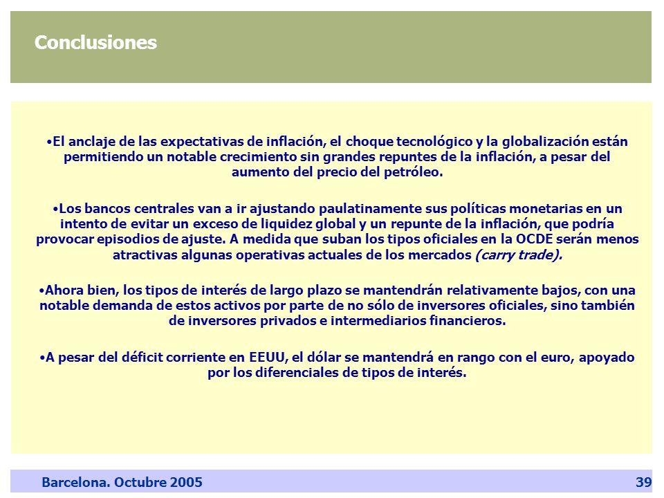 Barcelona. Octubre 200539 Conclusiones El anclaje de las expectativas de inflación, el choque tecnológico y la globalización están permitiendo un nota