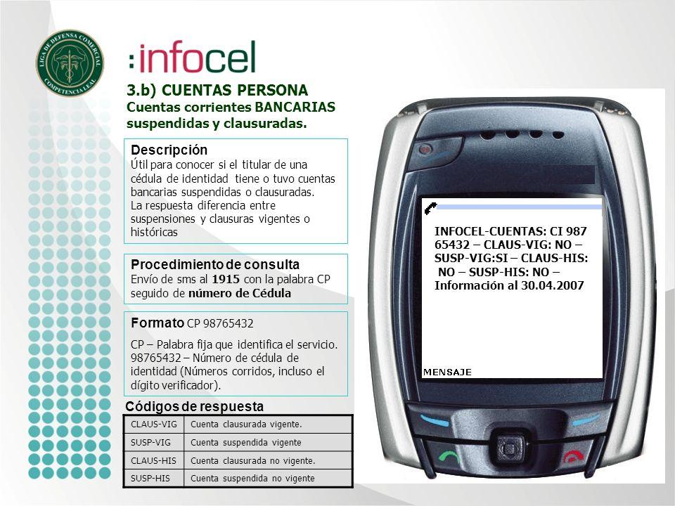 3.a) CUENTAS EMPRESA Cuentas corrientes BANCARIAS suspendidas y clausuradas Formato CE 111111111111 CE – Palabra fija que identifica el servicio.