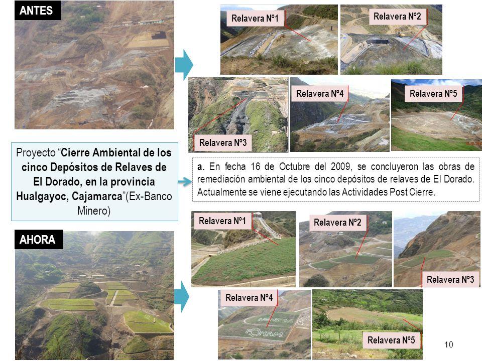 10 a. En fecha 16 de Octubre del 2009, se concluyeron las obras de remediación ambiental de los cinco depósitos de relaves de El Dorado. Actualmente s