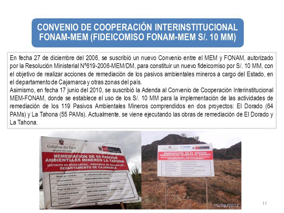 11 En fecha 27 de diciembre del 2006, se suscribió un nuevo Convenio entre el MEM y FONAM, autorizado por la Resolución Ministerial Nº619-2006-MEM/DM,