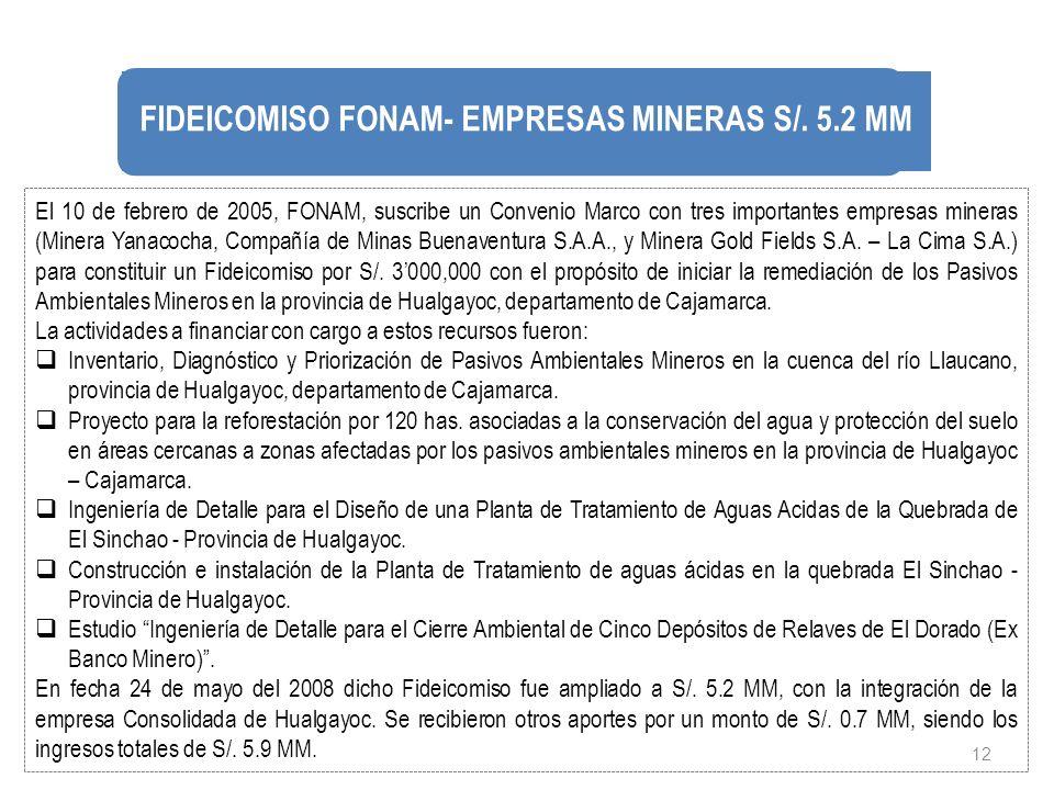 12 El 10 de febrero de 2005, FONAM, suscribe un Convenio Marco con tres importantes empresas mineras (Minera Yanacocha, Compañía de Minas Buenaventura