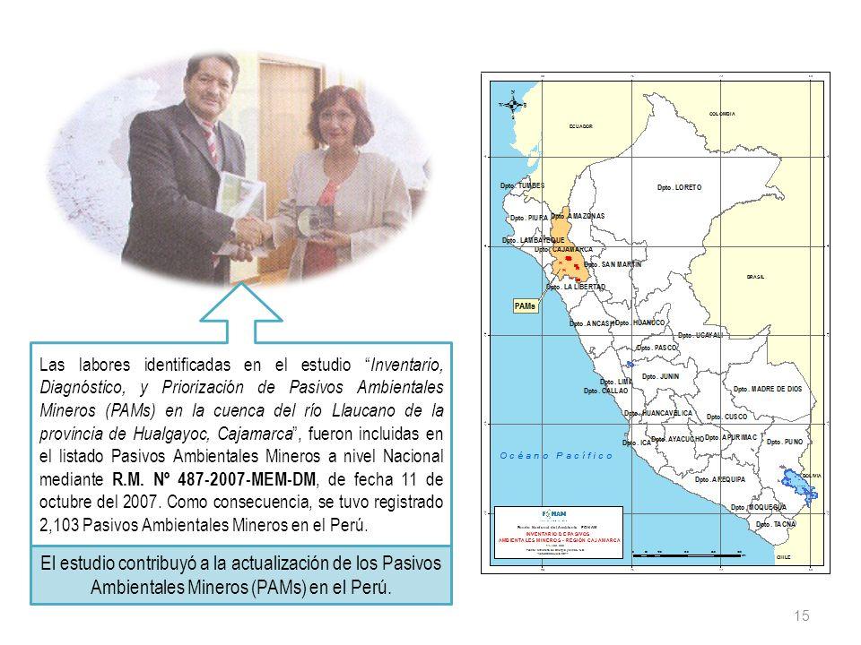 15 Las labores identificadas en el estudio Inventario, Diagnóstico, y Priorización de Pasivos Ambientales Mineros (PAMs) en la cuenca del río Llaucano