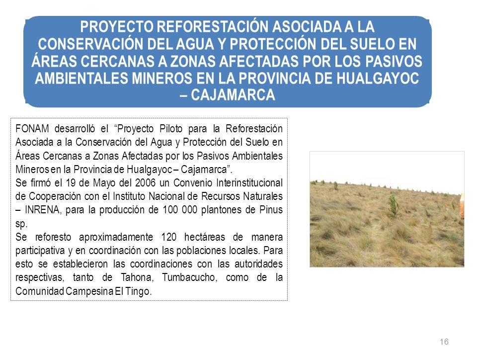 16 FONAM desarrolló el Proyecto Piloto para la Reforestación Asociada a la Conservación del Agua y Protección del Suelo en Áreas Cercanas a Zonas Afec