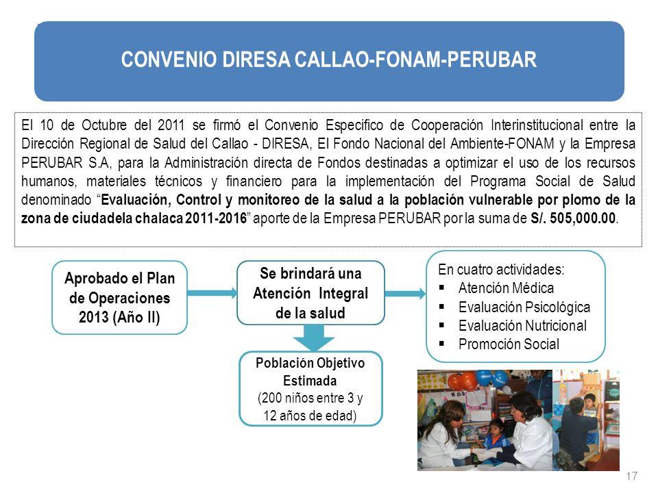 17 El 10 de Octubre del 2011 se firmó el Convenio Especifico de Cooperación Interinstitucional entre la Dirección Regional de Salud del Callao - DIRES
