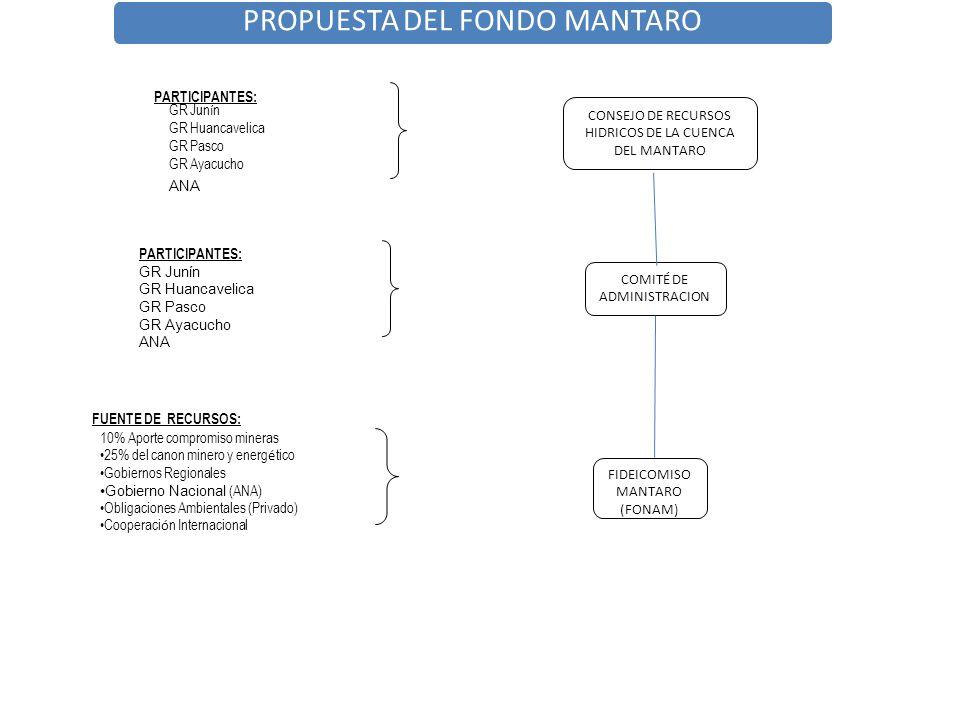 COMITÉ DE ADMINISTRACION FIDEICOMISO MANTARO (FONAM) CONSEJO DE RECURSOS HIDRICOS DE LA CUENCA DEL MANTARO PARTICIPANTES: GR Jun í n GR Huancavelica G