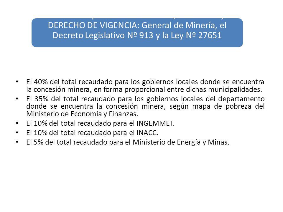 El 40% del total recaudado para los gobiernos locales donde se encuentra la concesión minera, en forma proporcional entre dichas municipalidades. El 3
