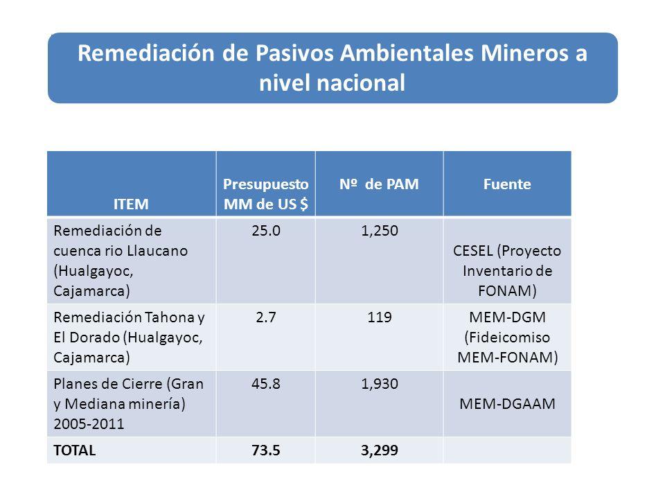 ITEM Presupuesto MM de US $ Nº de PAMFuente Remediación de cuenca rio Llaucano (Hualgayoc, Cajamarca) 25.01,250 CESEL (Proyecto Inventario de FONAM) R