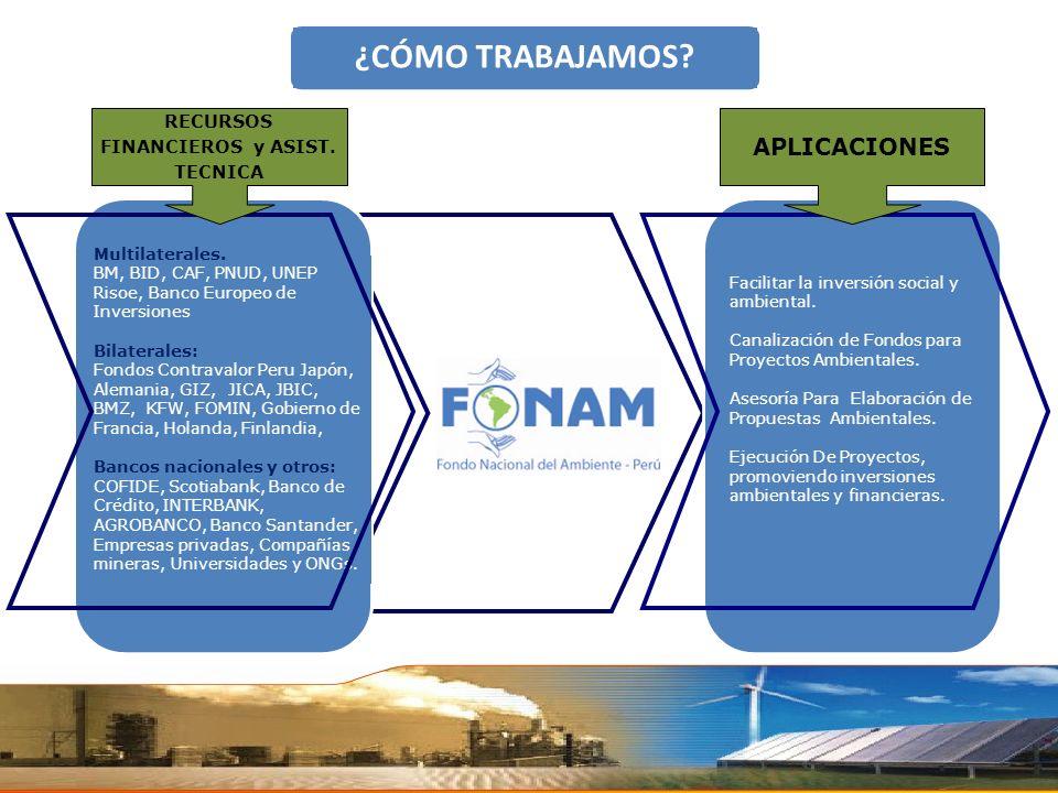 Multilaterales. BM, BID, CAF, PNUD, UNEP Risoe, Banco Europeo de Inversiones Bilaterales: Fondos Contravalor Peru Japón, Alemania, GIZ, JICA, JBIC, BM