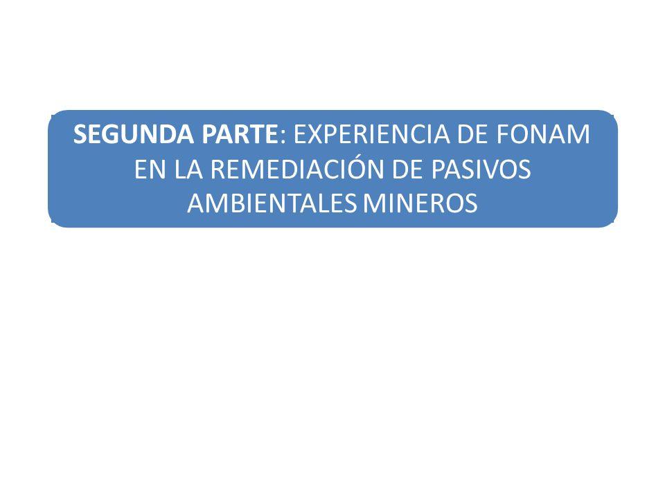 SEGUNDA PARTE: EXPERIENCIA DE FONAM EN LA REMEDIACIÓN DE PASIVOS AMBIENTALES MINEROS