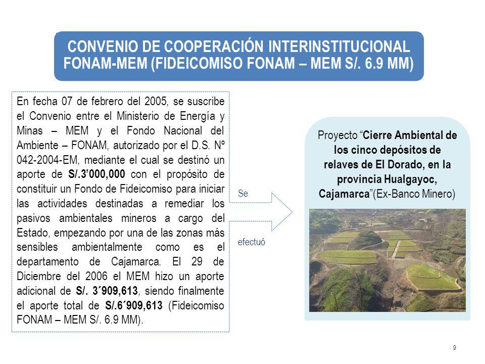 9 En fecha 07 de febrero del 2005, se suscribe el Convenio entre el Ministerio de Energía y Minas – MEM y el Fondo Nacional del Ambiente – FONAM, auto