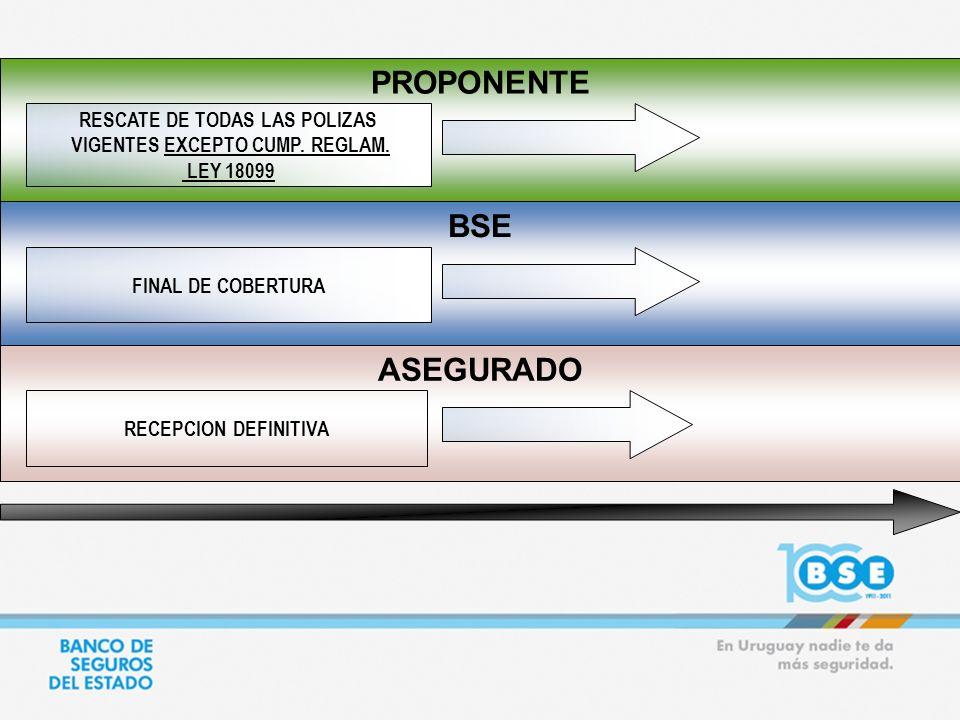 PROPONENTE ASEGURADO BSE FINAL DE COBERTURA RECEPCION DEFINITIVA RESCATE DE TODAS LAS POLIZAS VIGENTES EXCEPTO CUMP. REGLAM. LEY 18099