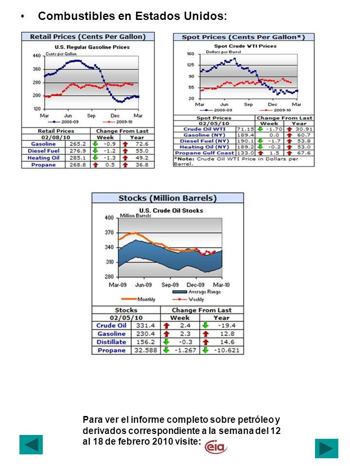 Para ver el informe completo sobre petróleo y derivados correspondiente a la semana del 12 al 18 de febrero 2010 visite: Combustibles en Estados Unidos: