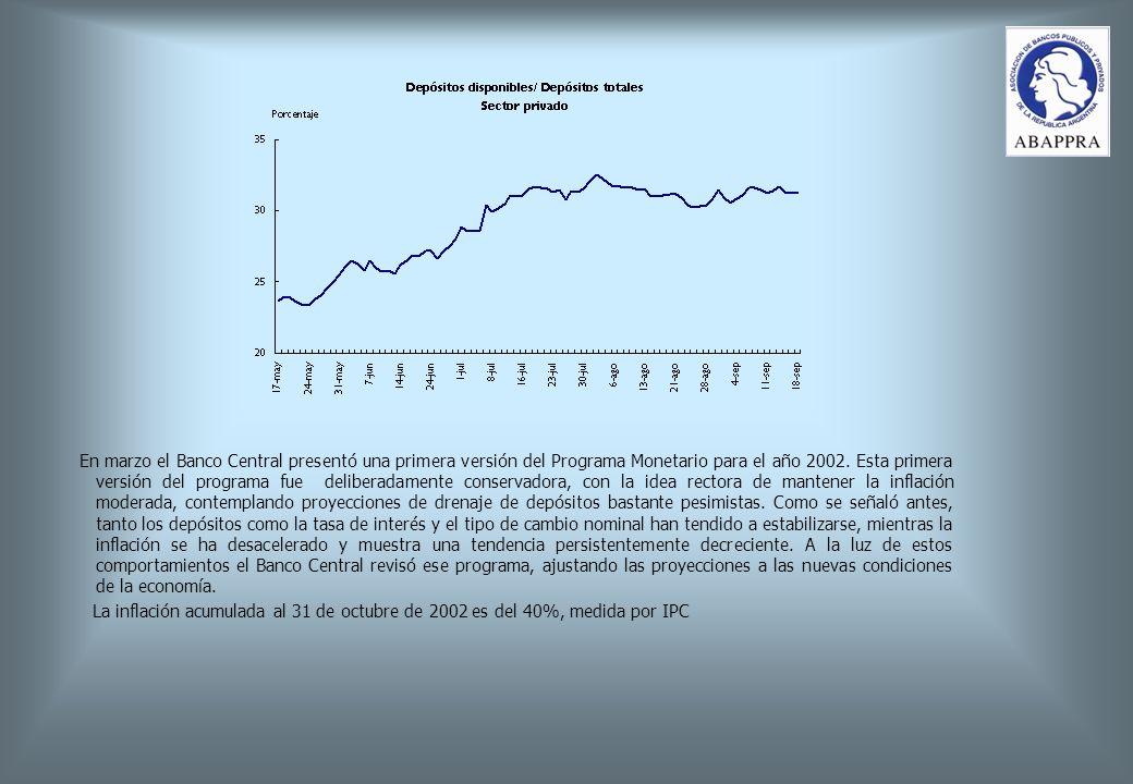 En marzo el Banco Central presentó una primera versión del Programa Monetario para el año 2002.