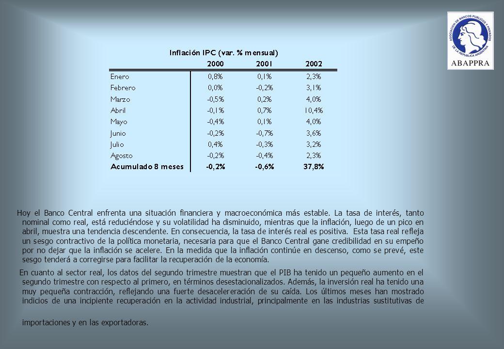 Hoy el Banco Central enfrenta una situación financiera y macroeconómica más estable.
