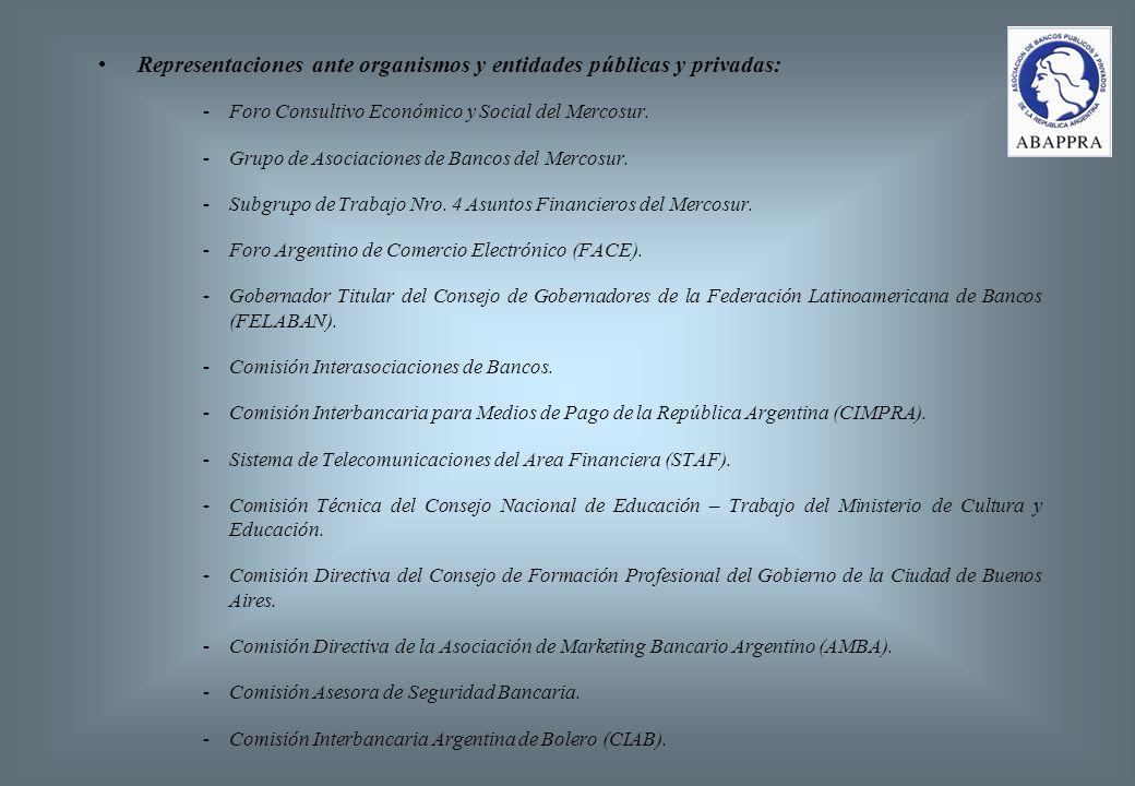 Representaciones ante organismos y entidades públicas y privadas: -Foro Consultivo Económico y Social del Mercosur.