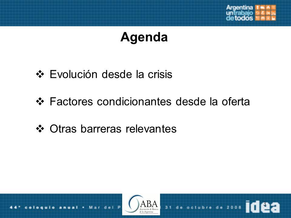 3 Agenda Evolución desde la crisis Factores condicionantes desde la oferta Otras barreras relevantes
