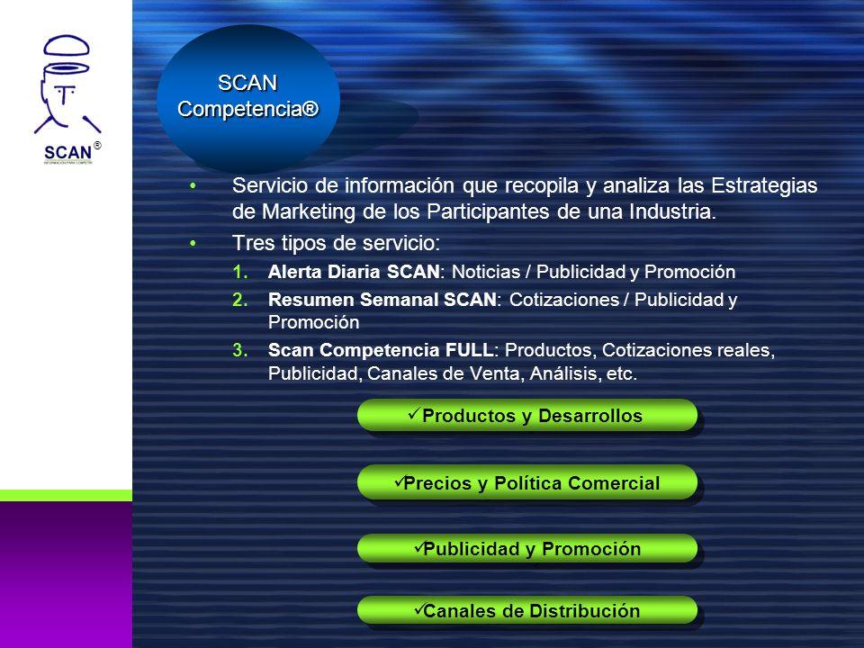 ® Servicio de información que recopila y analiza las Estrategias de Marketing de los Participantes de una Industria. Tres tipos de servicio: 1.Alerta