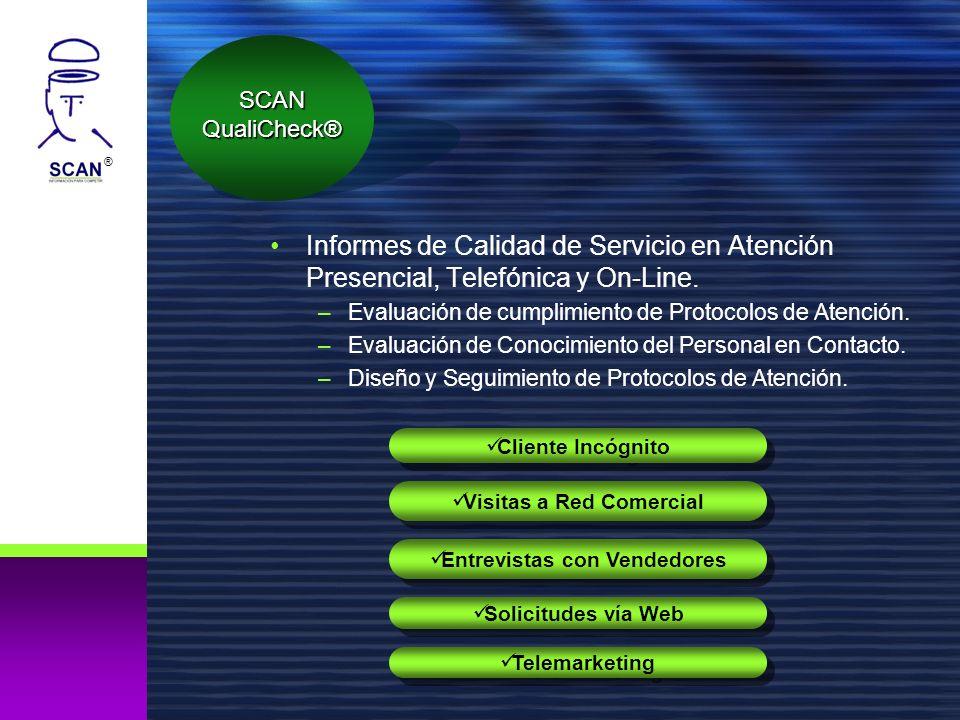 ® Informes de Calidad de Servicio en Atención Presencial, Telefónica y On-Line. –Evaluación de cumplimiento de Protocolos de Atención. –Evaluación de
