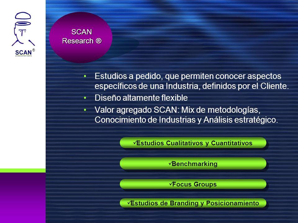 ® Estudios a pedido, que permiten conocer aspectos específicos de una Industria, definidos por el Cliente. Diseño altamente flexible Valor agregado SC