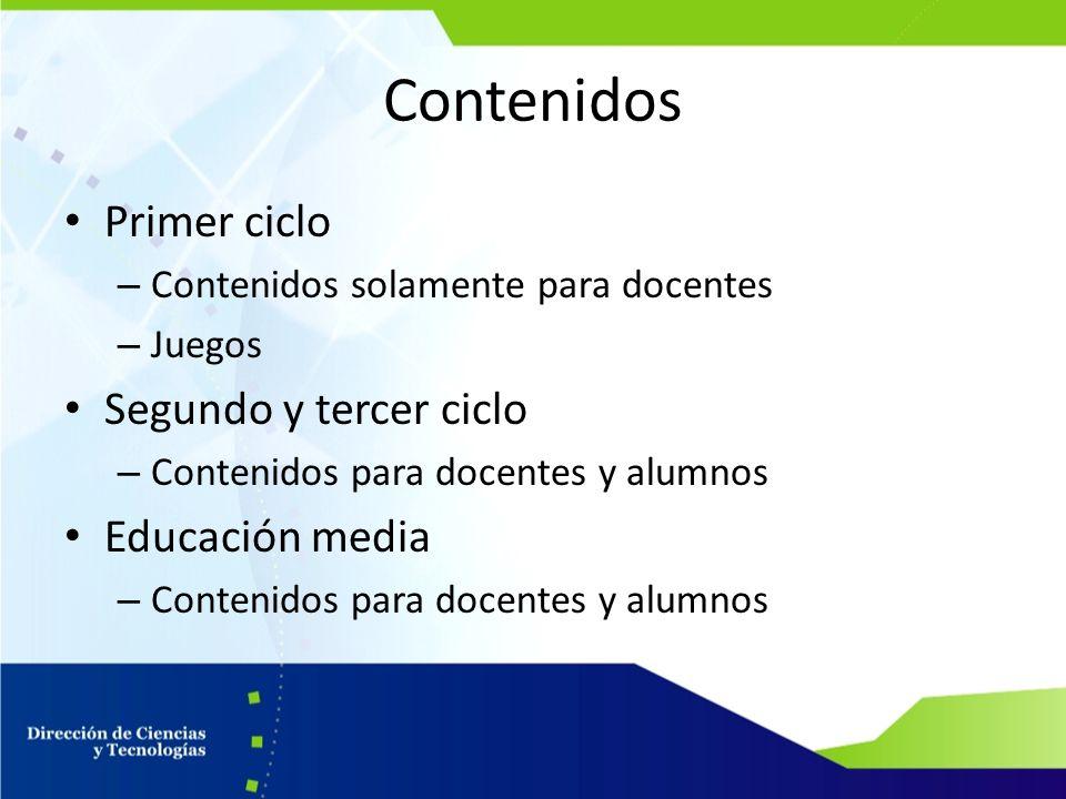 Contenidos Primer ciclo – Contenidos solamente para docentes – Juegos Segundo y tercer ciclo – Contenidos para docentes y alumnos Educación media – Co