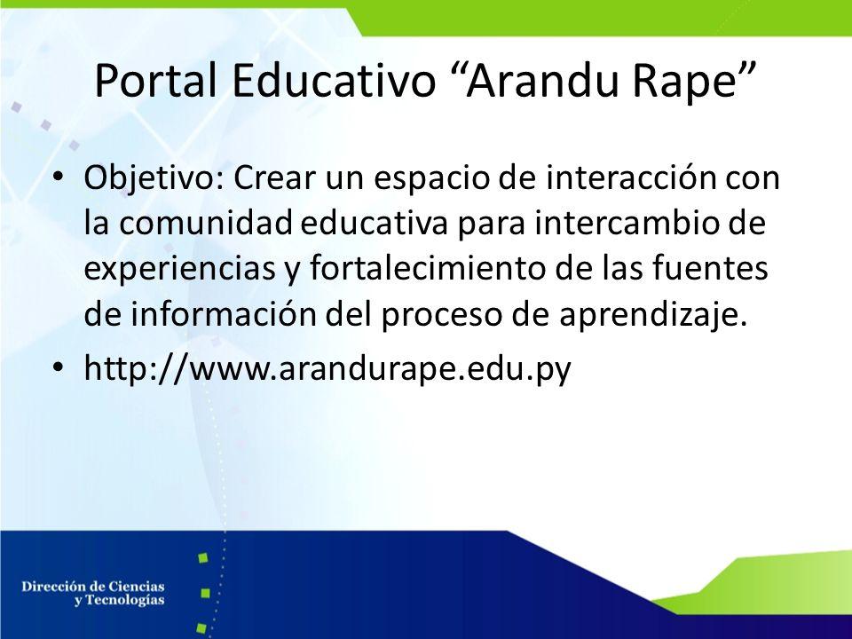 Portal Educativo Arandu Rape Objetivo: Crear un espacio de interacción con la comunidad educativa para intercambio de experiencias y fortalecimiento d