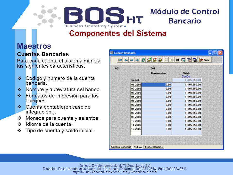 Maestros Cuentas Bancarias Para cada cuenta el sistema maneja las siguientes características: Código y número de la cuenta bancaria.