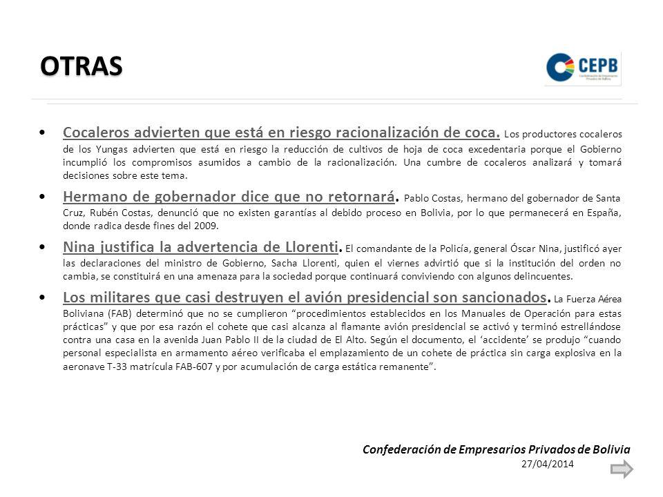 OTRAS Cocaleros advierten que está en riesgo racionalización de coca. Los productores cocaleros de los Yungas advierten que está en riesgo la reducció