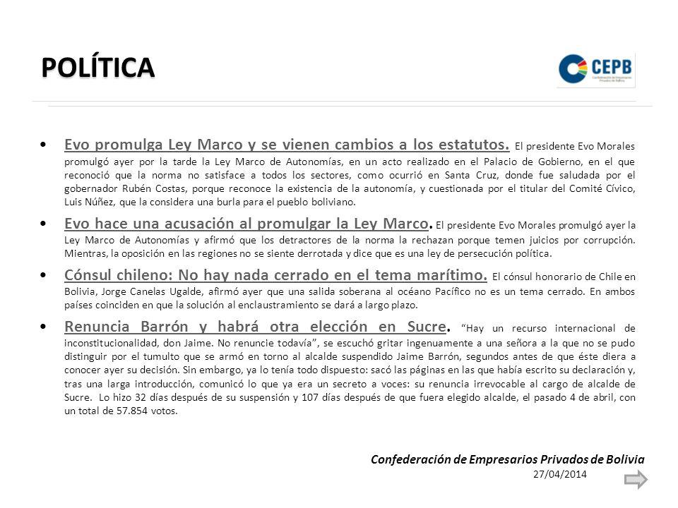 POLÍTICA Evo promulga Ley Marco y se vienen cambios a los estatutos. El presidente Evo Morales promulgó ayer por la tarde la Ley Marco de Autonomías,