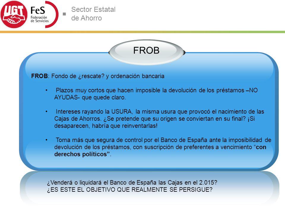 Sector Estatal de Ahorro FROB FROB: Fondo de ¿rescate.