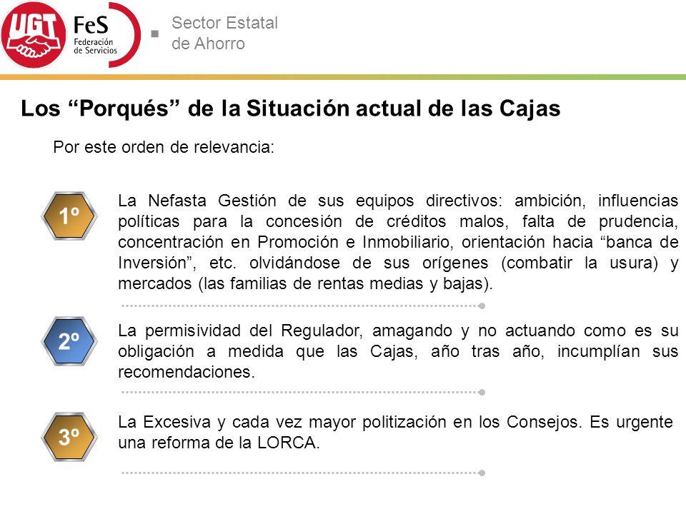 Sector Estatal de Ahorro Si como parece evidente las Cajas se han gestionado mal, para apoyar la fusión o fusiones exigiremos el relevo de los equipos directivos.
