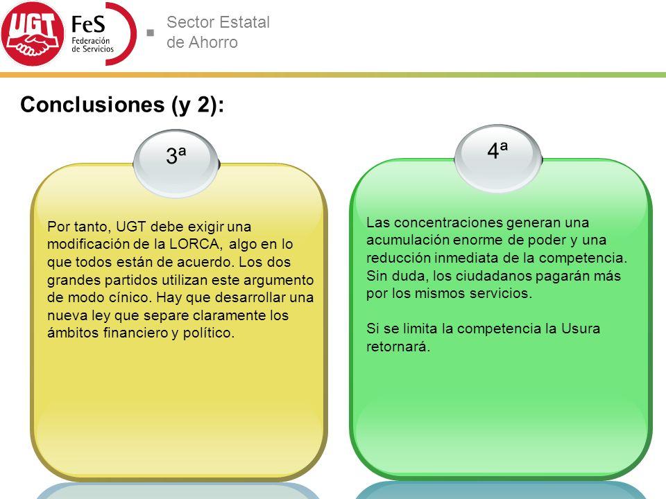 Sector Estatal de Ahorro 4ª Las concentraciones generan una acumulación enorme de poder y una reducción inmediata de la competencia.