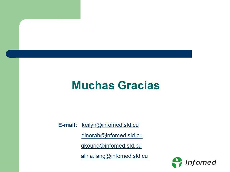 Muchas Gracias keilyn@infomed.sld.cu dinorah@infomed.sld.cu gkouric@infomed.sld.cu alina.fang@infomed.sld.cu E-mail: