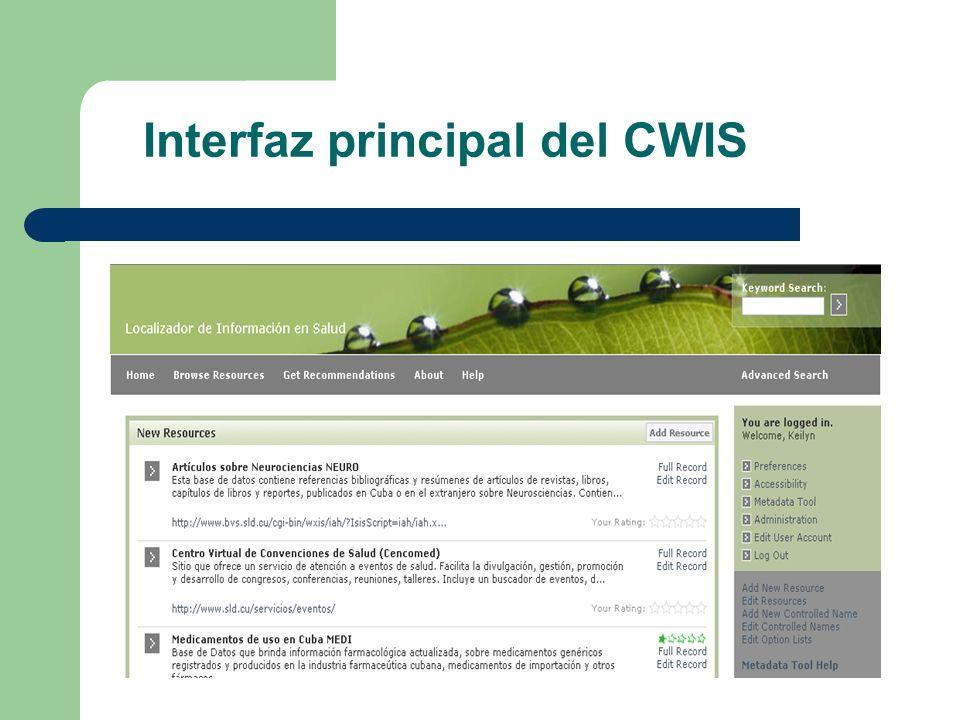 Interfaz principal del CWIS