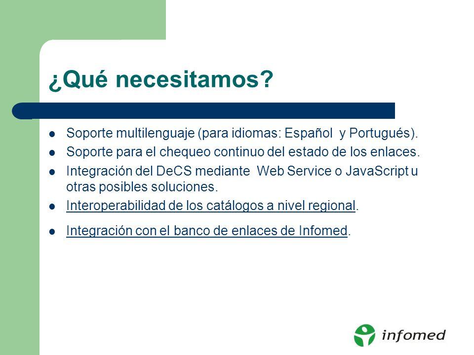 ¿Qué necesitamos? Soporte multilenguaje (para idiomas: Español y Portugués). Soporte para el chequeo continuo del estado de los enlaces. Integración d