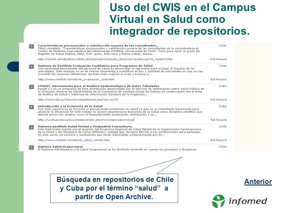 Uso del CWIS en el Campus Virtual en Salud como integrador de repositorios. Búsqueda en repositorios de Chile y Cuba por el término salud a partir de