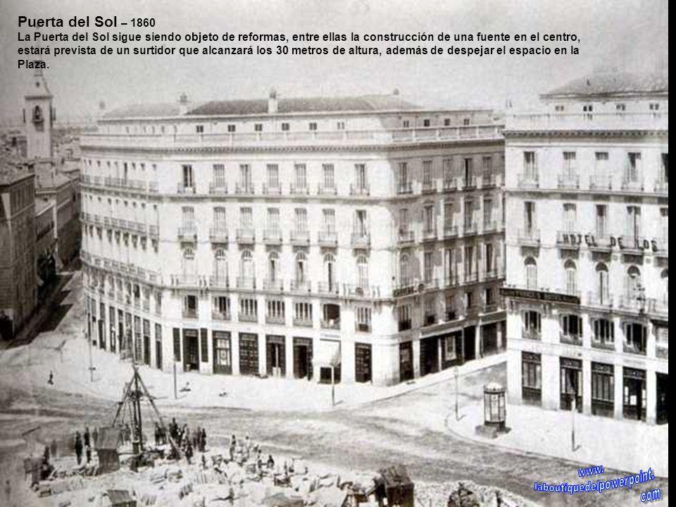 Puerta del Sol – antes de 1858 Obras en el año 1858, la publicidad se hacía notar y los Almacenes de Pérez Abenal así como los cafés molidos, tés y va