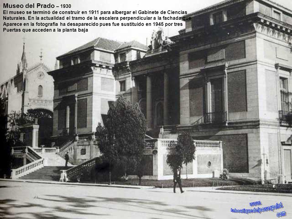 Museo del Prado – Anterior a 1878 Fachada norte que da a la calle de Felipe IV. Desde la inauguración del edificio, la fachada norte tenía un solo pis