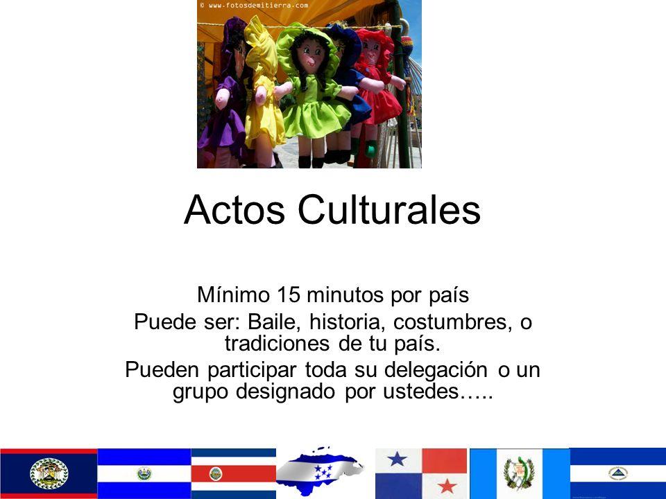 Actos Culturales Mínimo 15 minutos por país Puede ser: Baile, historia, costumbres, o tradiciones de tu país.