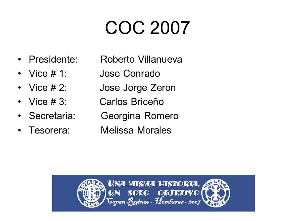 COC 2007 Presidente: Roberto Villanueva Vice # 1: Jose Conrado Vice # 2: Jose Jorge Zeron Vice # 3: Carlos Briceño Secretaria: Georgina Romero Tesorera: Melissa Morales