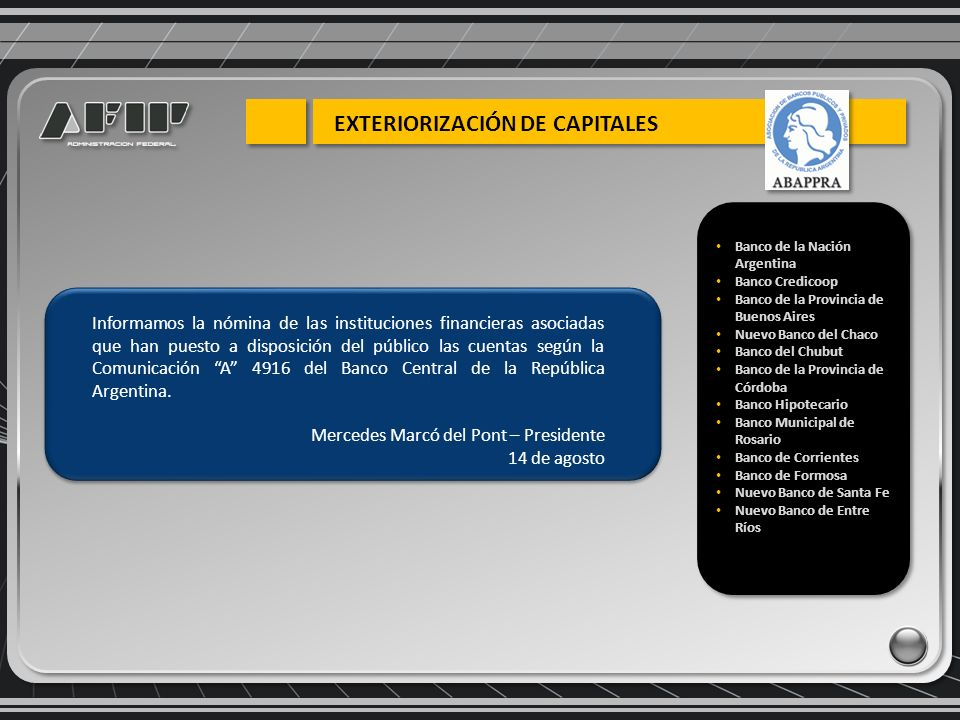 Informamos la nómina de las instituciones financieras asociadas que han puesto a disposición del público las cuentas según la Comunicación A 4916 del Banco Central de la República Argentina.